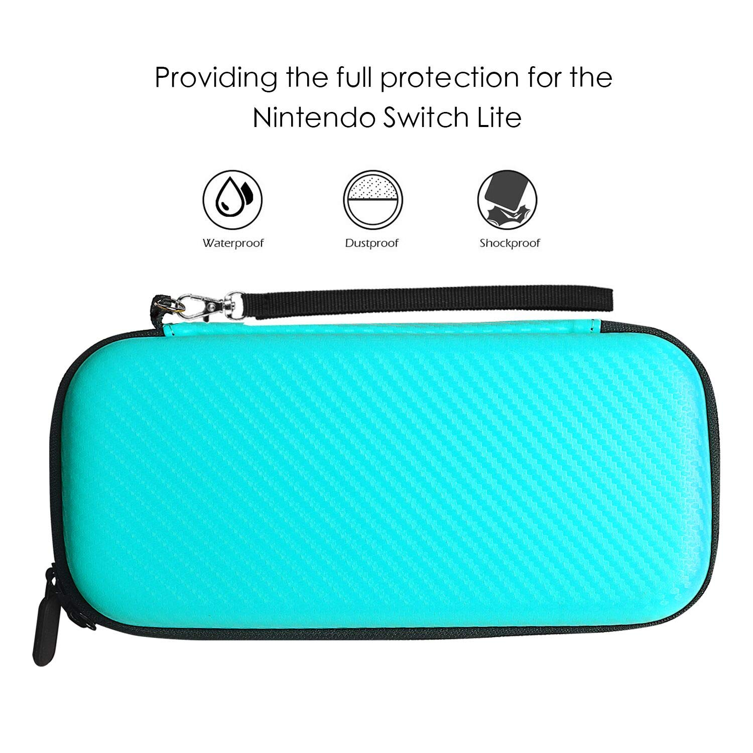 YCCSKY Carrying Case for Nintendo Switch Lite, [Portable Version] Ultra-Thin Travel Carry Case with 10 Card Slot and 1 Screen Protector Included (Turquoise Blue)