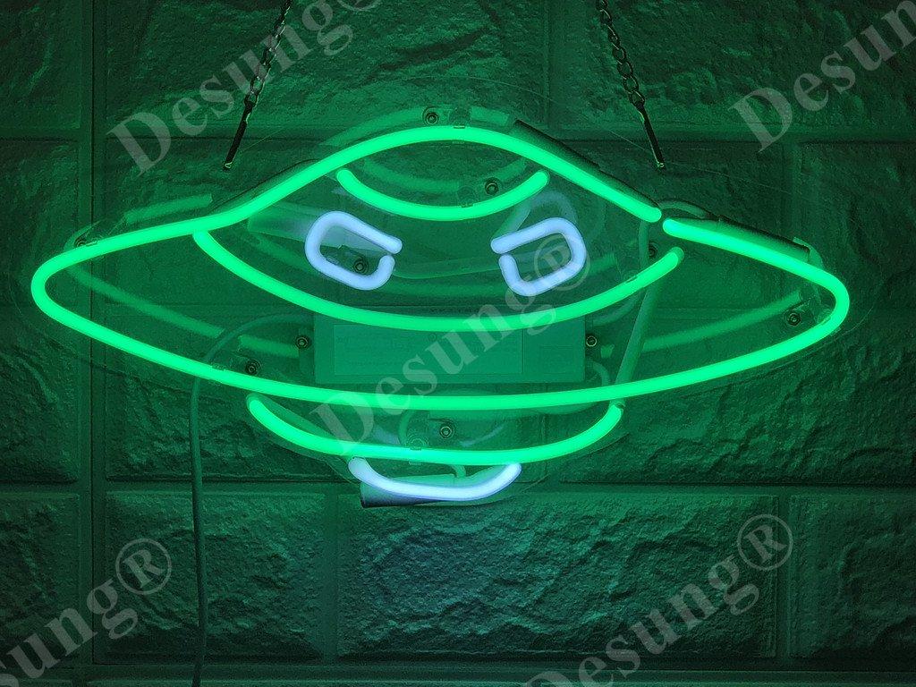 Desung Brand New 14'' Alien UFO Gift Lamp Decorated Acrylic Panel Handmade Custom Design Neon Sign Light WD01