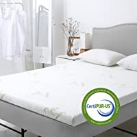 LANGRIA Gel Infused Memory Foam Mattress Topper with Removable Zippered Hypoallergenic Bamboo Cover CertiPUR-US Certified