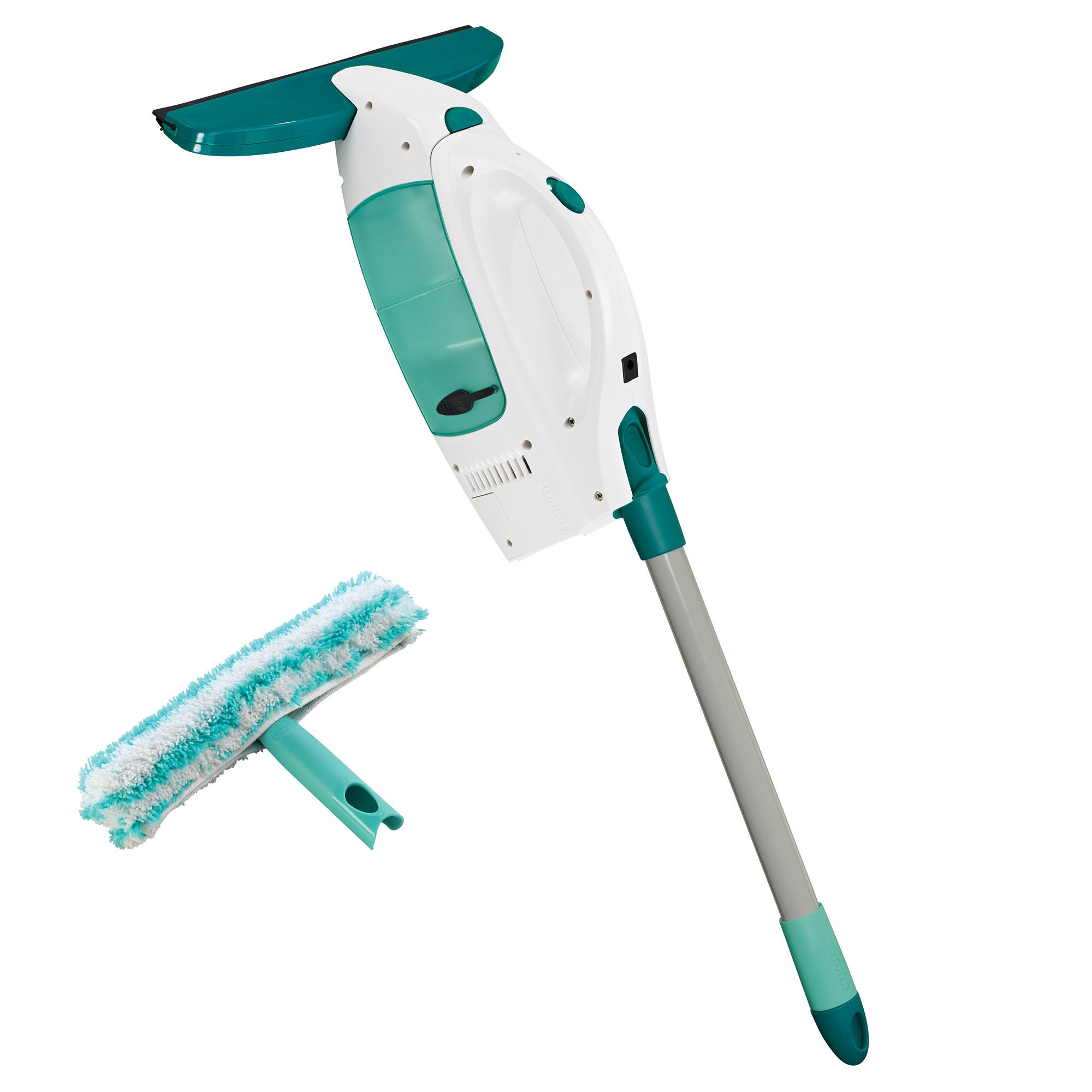 Leifheit 51107 Click System Window Cleaning Tool Kit Vacuum Squeegee - Pole Microfiber Cleaning Pad