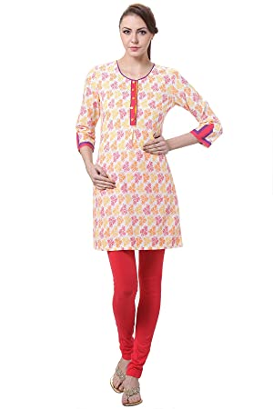 In-Sattva Women's Indian Colorful Floral Print Kurta Tunic; White; Medium