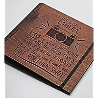 Life is Like a CAMERA yazılı, Fotoğraf Makinesi Figürlü Ahşap Fotoğraf Albümü/Düğün Albümü/Aile Albümü/Bebek Albümü - 72 Sayfa