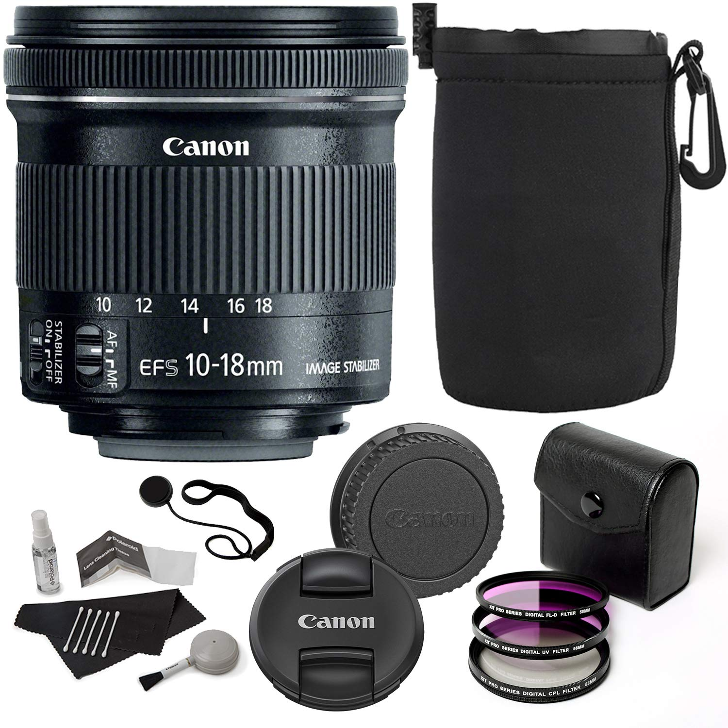 Canon EF-S 10-18mm f/4.5-5.6 is STM Lens + Ritz Gear 67mm 3 Piece Filter + Vivitar Protective Pouch + 5 Piece Camera Cleaning Kit + Polaroid Cap Strap