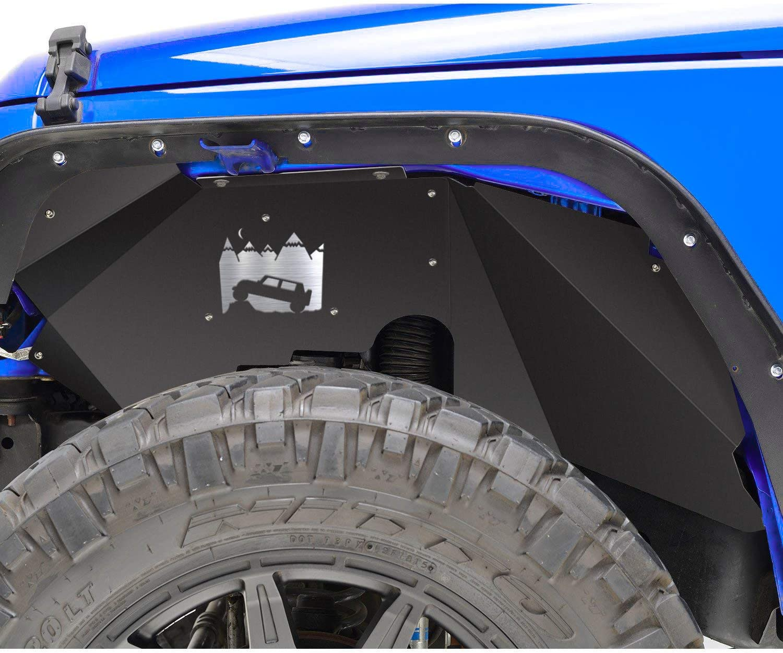 SMALLFATW Jeep Wrangler Steel Front Inner Fender Liners Wheel Cover for 2007-2018 Jeep Wrangler JK JKU 4WD Off-Road Style Corrosion-Resistant Aluminum Splash Guards