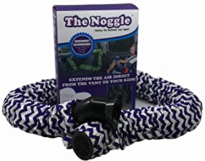 Noggle - Extend Hot and Cold Air from Your Dash AC Vent to Kids in The Back Seat - Summer and Winter Vehicle Baby Traveling System to Keep Children Comfortable in The Car - 8ft, Purple Squiggles