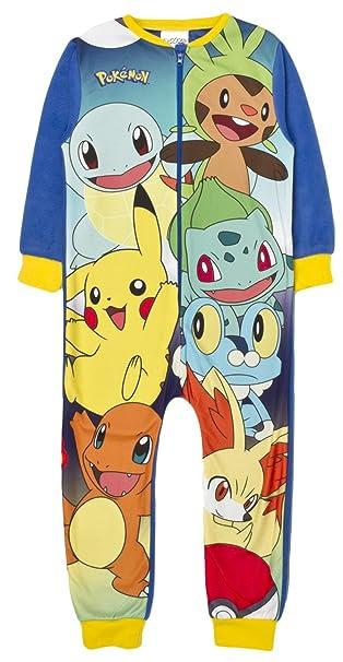 Pokemon - Pijama de una pieza - Manga Larga - para niño multicolor Pokemon 4-