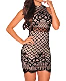 Shawhuwa Womens Sexy Floral Lace Print Party Club Cocktail Mini Dress (X-Small, Black)