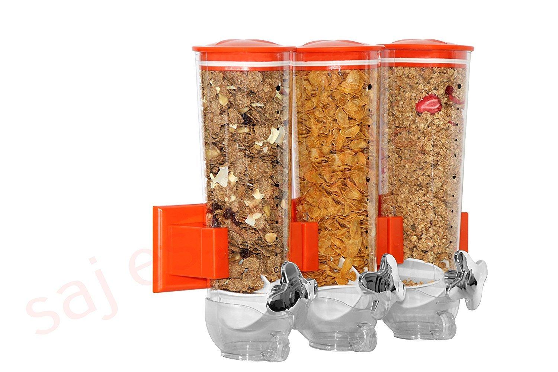 Dispensador triple de cereales y alimentos secos con bandeja de derrame incluida para hogar, cocina, encimeras, desayuno, mascotas, comida para gatos, ...