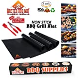 MasterBBQMat Grill Mat (Set of 3) Large Non Stick Barbecue Grill Mats for Gas Grills Charcoal Grill Grates, and Electric Cooking, Reusable and Easy to Clean Free Chef BBQ Oil Brush and Food Tong