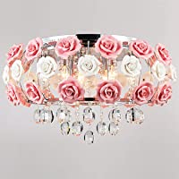 Ceiling Light's Idyllic Modern Crystal 5 Light Pendant Decorated with Pink Flower Chandelier for Dining Room, Bedroom…