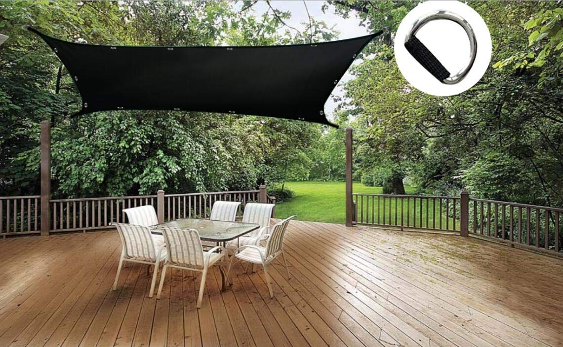 Shatex 90 Sun Shade Sail Black Rectangle Outdoor Patio Cover, Garden Canopy Sunblock Panel with Grommets for Window RV Shelter, 8x12ft