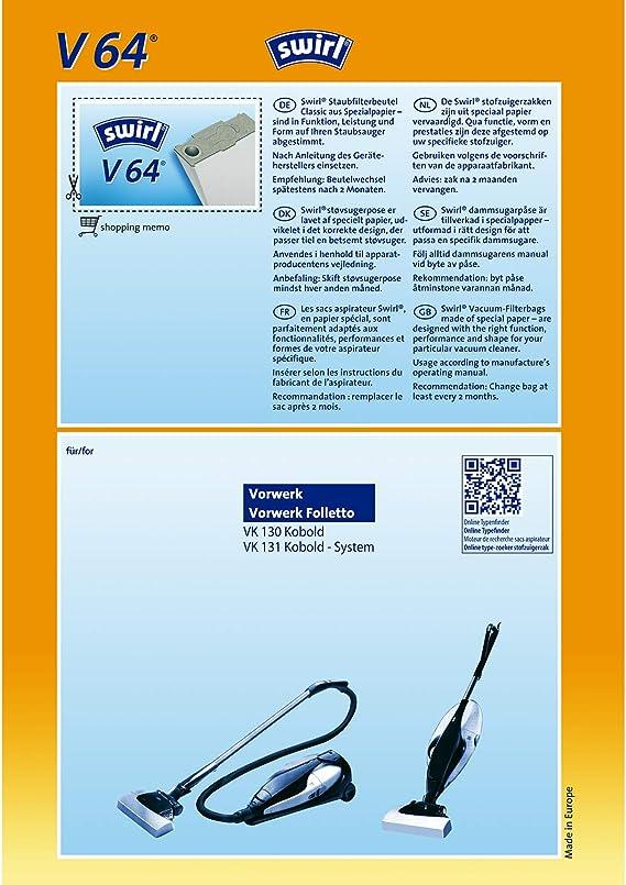 2 ORIGINAL Pakete SWIRL V 65 Classic Inhalt 8 Staubsaugerbeutel