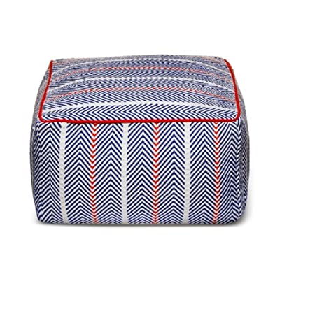 Brooklyn Bond Blue Herringbone Cotton Pouf 24 x 24 x 13