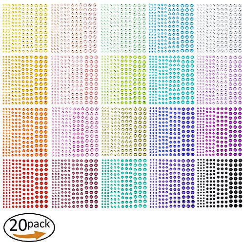3300 Pieces Self Adhesive Colorful Rhinestone Stickers - Assorted 20 Colors & 4 Sizes - Ideal for DIY,Face, Art, Decoration, Festival, Carnival, Crafts & Embellishments