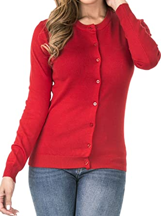2ddd7bcacd coul J B7-027 Women s Long Sleeve Round Neck Button Down Classic Knit  Cardigan (