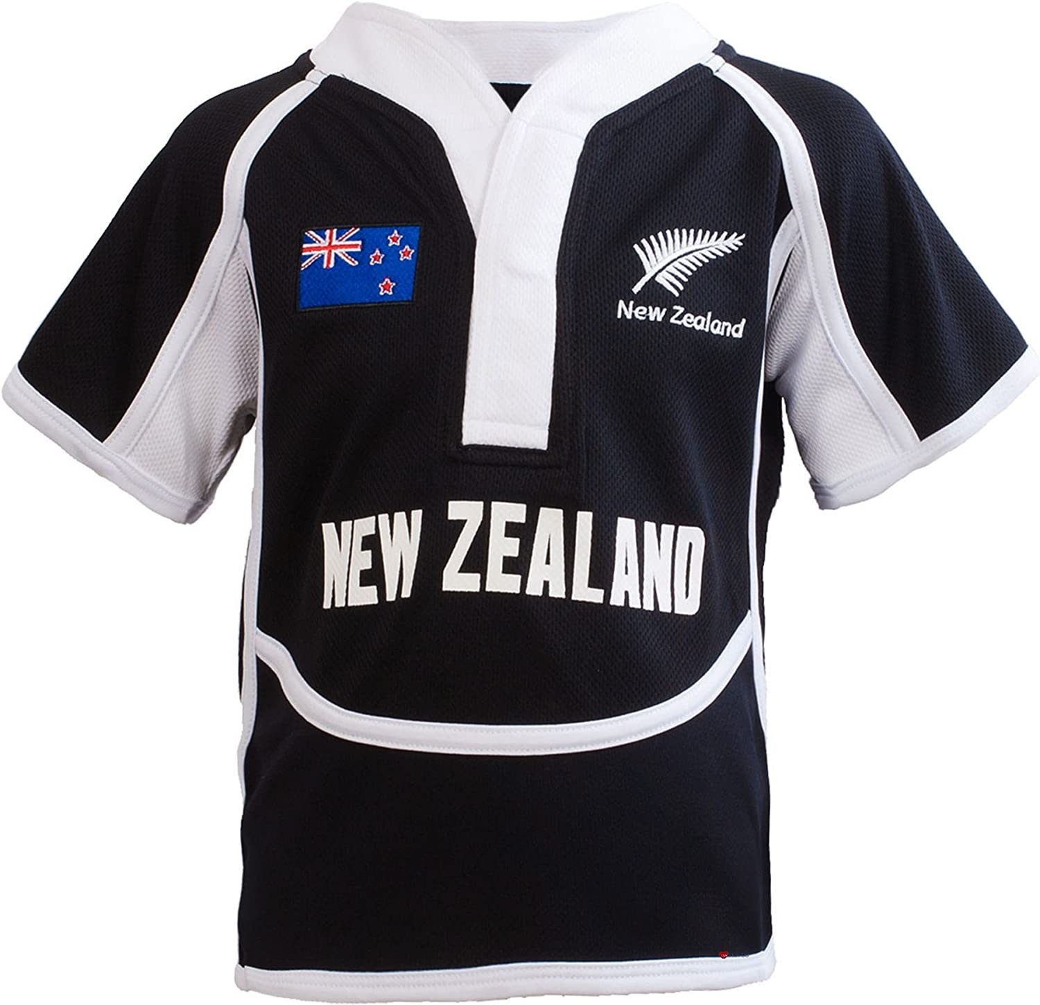 Amazon Com Kids Cool Dry Style Rugby Shirt In New Zealand Colours Size 5 6 Years Black White Clothing