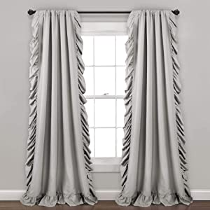 "Lush Decor Reyna Light Gray Window Panel Curtain Set for Living, Dining Room, Bedroom (Pair), 95"" x 54"", 95"" x 54"""