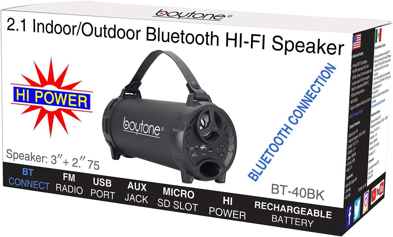AUX FM Radio USB Charger Built in Rechargeable Battery Boytone BT-40BK Portable Bluetooth Indoor//Outdoor Speaker 2.1 Hi-Fi Cylinder Loud Speaker with Built-in 2x3 Sub and SD Card USB