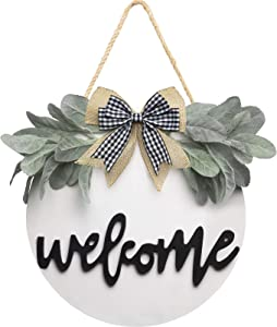 Welcome Wreath Sign for Farmhouse Front Porch Decor, Rustic Door Hangers Front Door with Premium Greenery-Front Door Welcome Wreath Hanging Christmas Housewarming Holiday Gift for Home Decoration(White)