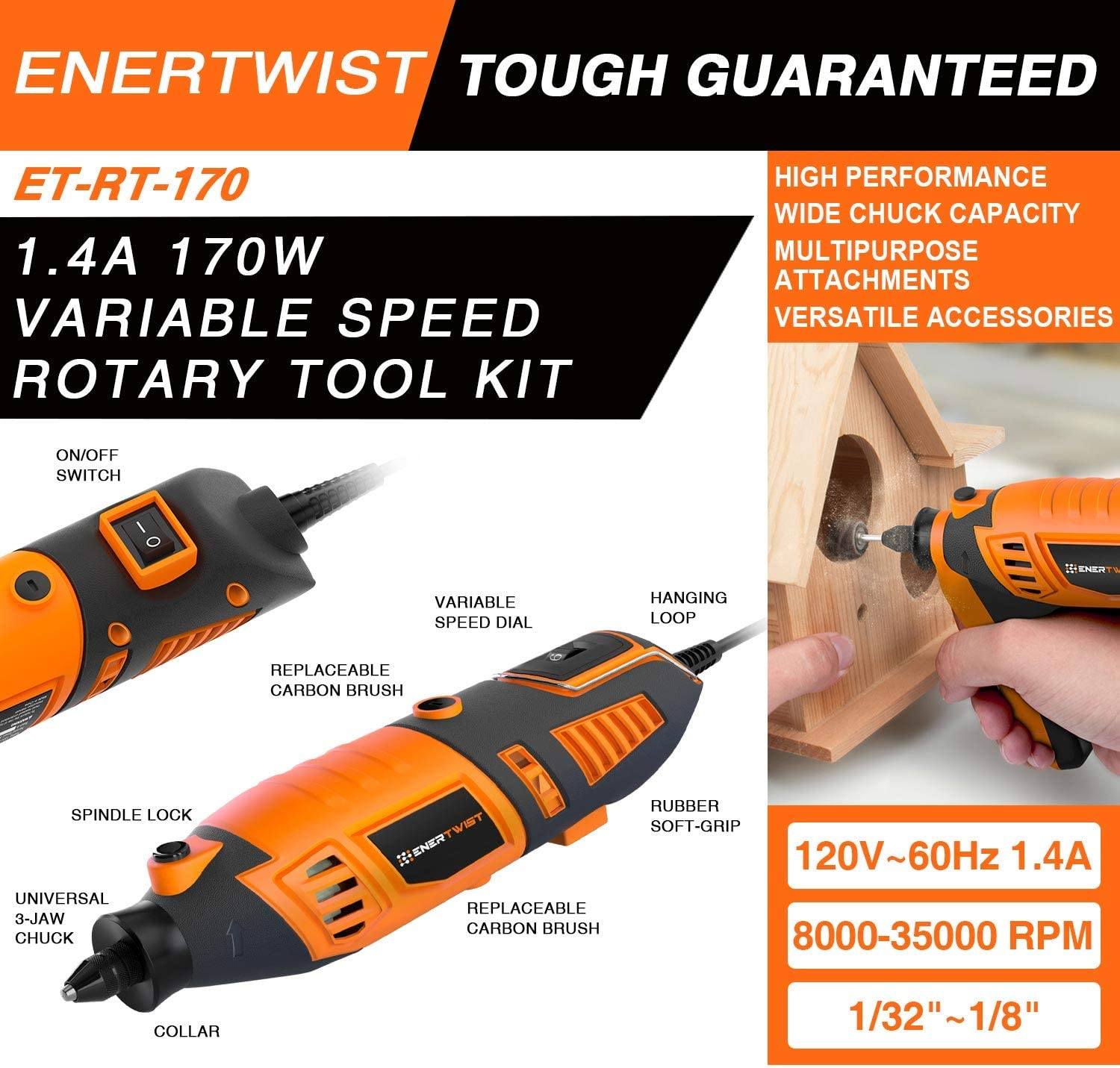 Enertwist Rotary Tool Kit 170W 1.4A with 1 32 1 8 Keyless Chuck, 36 Flex Shaft, 10 Attachments and 130 Accessories Set in Carrying Bag, 8000 35000 RPM for DIY and Crafting Projects, ET-RT-170