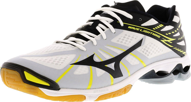 Mizuno Men's Wave Lightning Z WH-BK Volleyball Shoe, White/Black, 15 D US