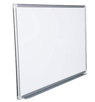 Pizarra blanca magnética con marco de aluminio y bandeja ...