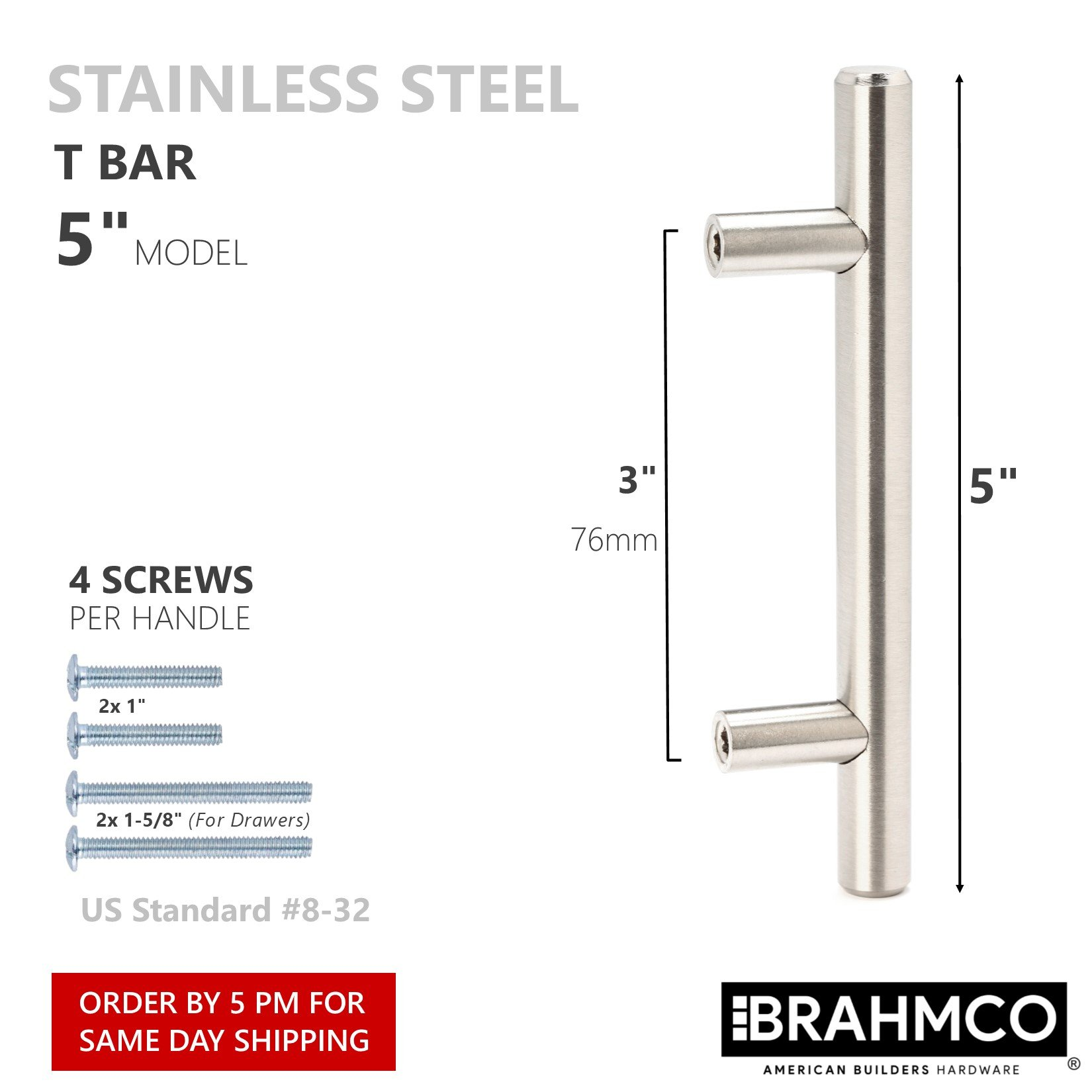 30 Pack | 5'' Stainless Steel T Bar Cabinet Pulls: 3 Inch Hole Spacing | Brahmco 180-5 | Modern Euro Style Brushed Satin Nickel Finish Kitchen Cabinet Handles Hardware/Drawer by Brahmco (Image #4)