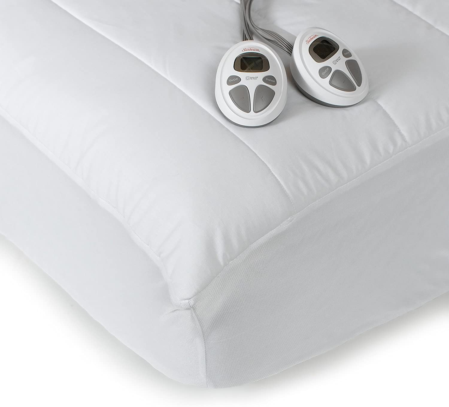 Sunbeam Imperial Queen Heated Mattress Pad, 140-Thread-Count Poly/Cotton, White: Home & Kitchen