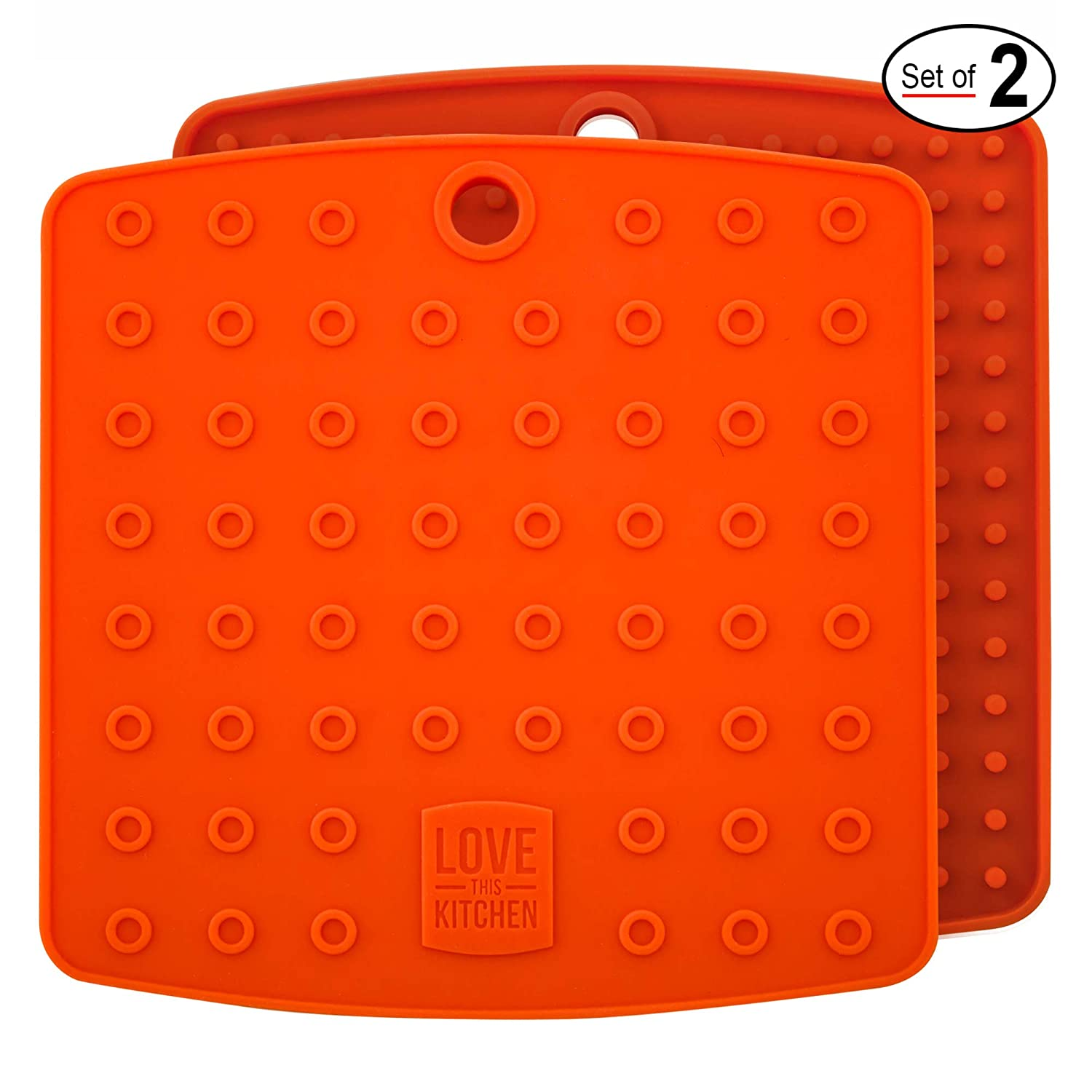 Premium Silicone Trivet & Pot Holders. Our Silicone Hot Pads Work as Jar Opener Gripper Pad, Large Coasters & Spoon Rest. Trivets are Heat Resistant to 442 F & Flexible (7x7 in, Orange,1 Pair)