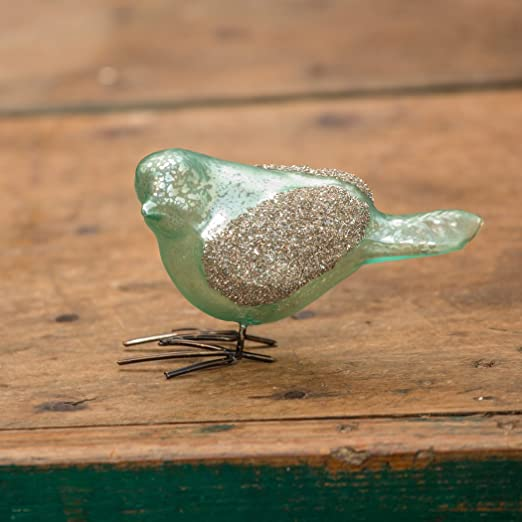 Christmas Tablescape Decor - Blue green mercury glass glitter wing birds Christmas table decor - Set of 4