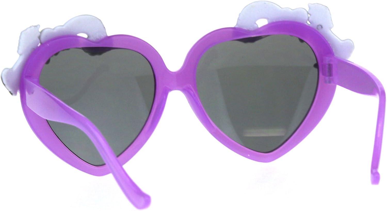Children Size Girls Rainbow Unicorn Heart Shape Sunglasses Purple