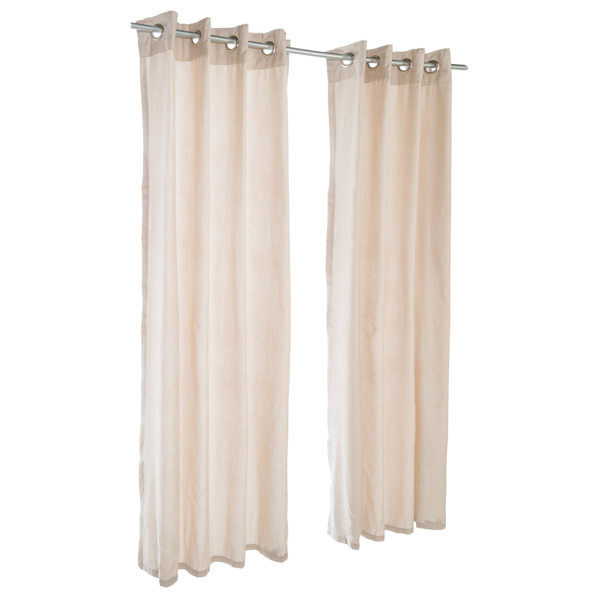 Sunbrella Outdoor Curtain with Nickel Grommets - Wren (SHEER) (50 in. W x 120 in. L)