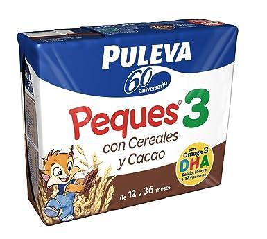 Puleva - Peques 3 Leche Crecimiento con Cereales Al Cacao, Desde 12 meses, minibrick