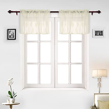 Genial Deconovo Valance Super Soft Rod Pocket Sheer Window Valances For Bedroom  52x18 Inch Yellow 2 Panels