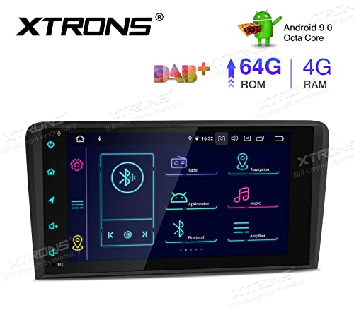 XTRONS 8 Inch Android 9.0 Car Stereo Radio Player Octa Core 4G RAM 64G ROM GPS Navigation Multi-Touch Screen Video Player Head Unit Supports Bluetooth 5.0 WiFi OBD2 DVR TPMS Backup Camera for Audi A3