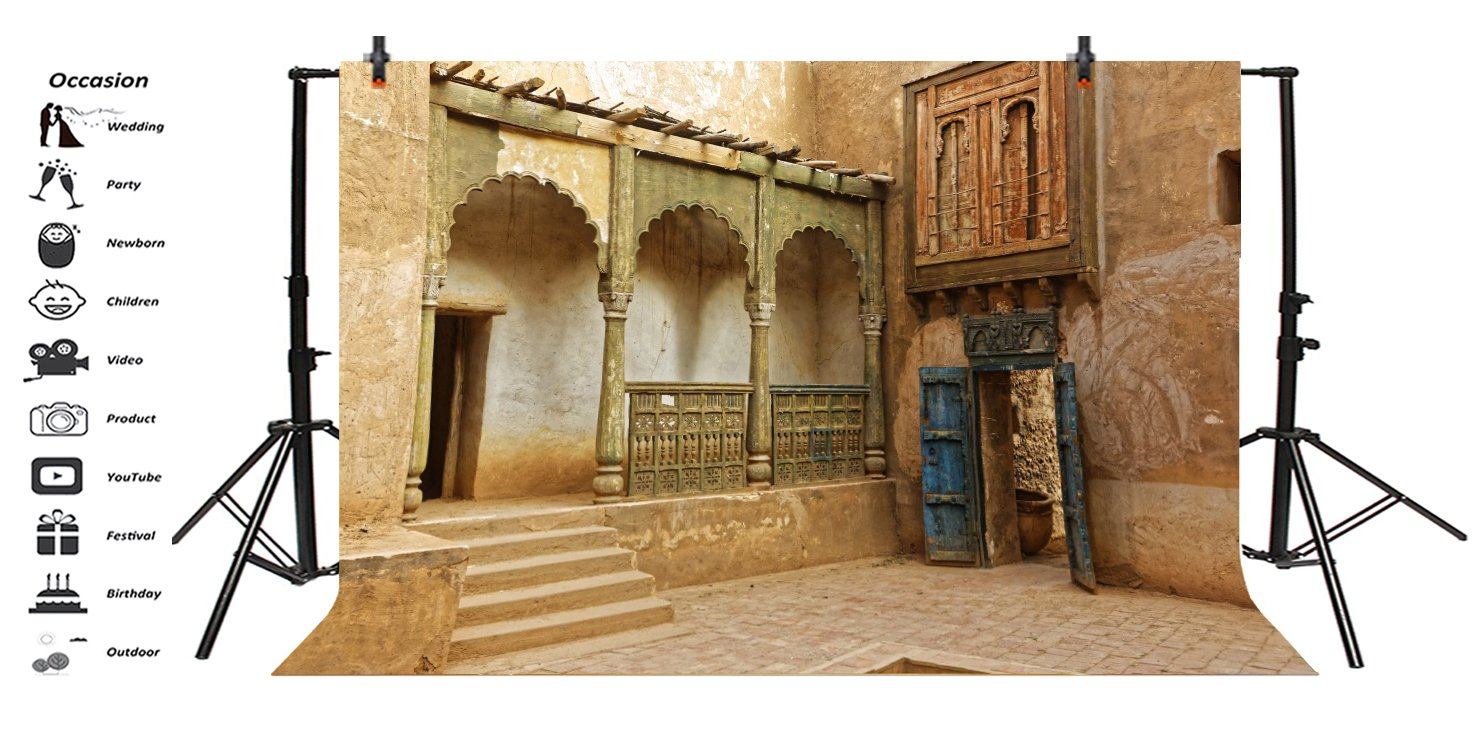 LFEEY 7x5ft Morocco Abandoned Town Backdrop Old Ancient Deserted City Ruin Architecture Building Grunge Stone Wall Photography Background Travel Photo Studio Props by LFEEY (Image #3)