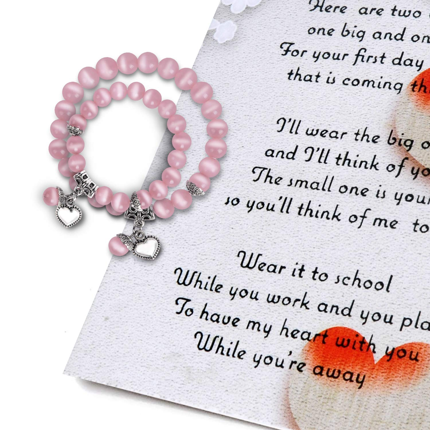 Back to School Gifts - First Day of School Mommy & Me Bracelets with Poem Card - Mother Daughter Matching Heart Bracelets Set for 2 - Anxiety Seperation Present Preschool Kindergarten by MORDUN