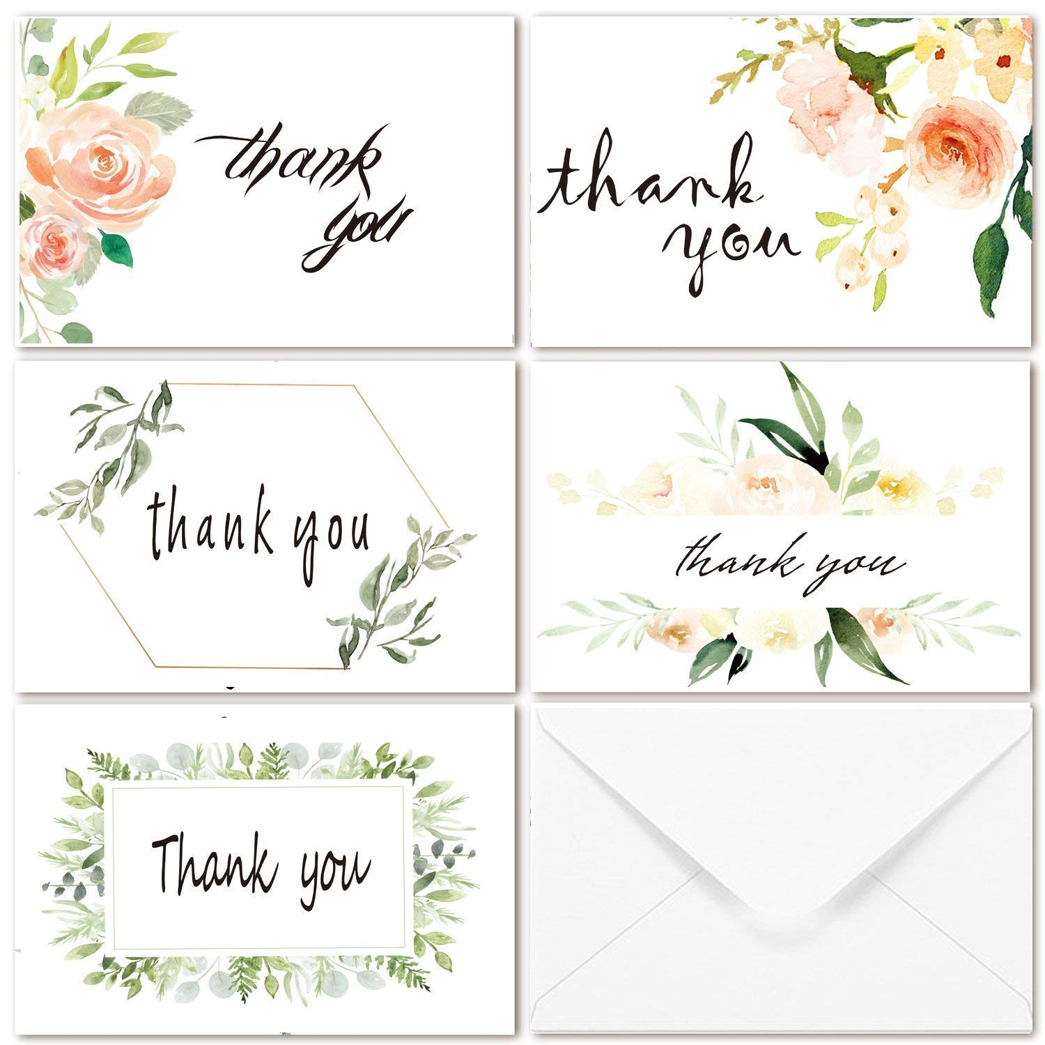 Amazon Blank Watercolor Thank You Cards 36 Assorted Boxed Pack