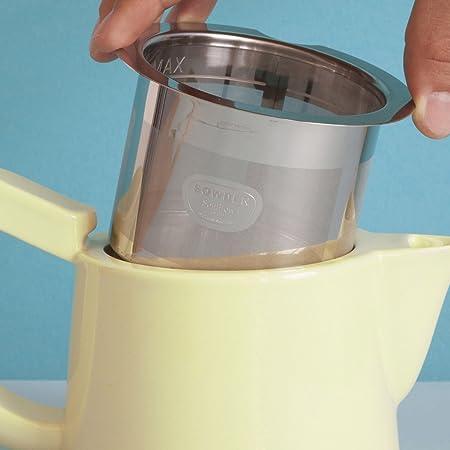 Cafetera Color Amarillo 0,5 L, para 2 Tazas, de Porcelana con Filtro de Acero Inoxidable 18//8 y Tapa de Madera Sowden Jakob