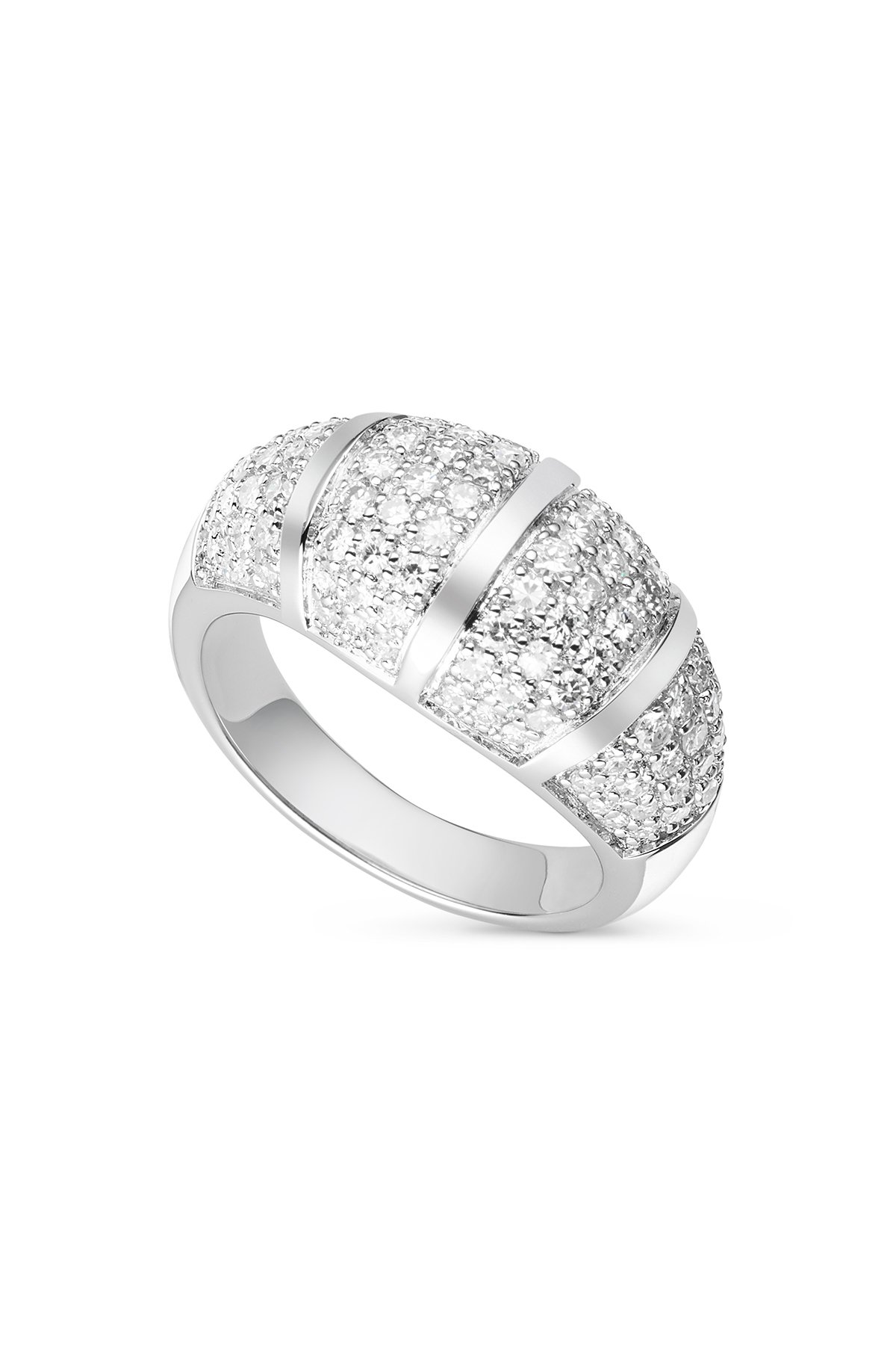 Dome Shaped Pave 1.5mm Moissanite Ring - size 8, 1.14cttw DEW By Charles & Colvard