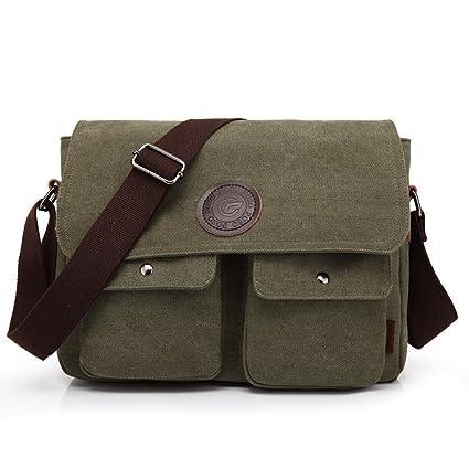 b926920c0ed2 LYCSIX66 Vintage Canvas Messenger Bag Men s Tablet Satchel School Shoulder  Bag Casual Crossbody Bookbag (Army