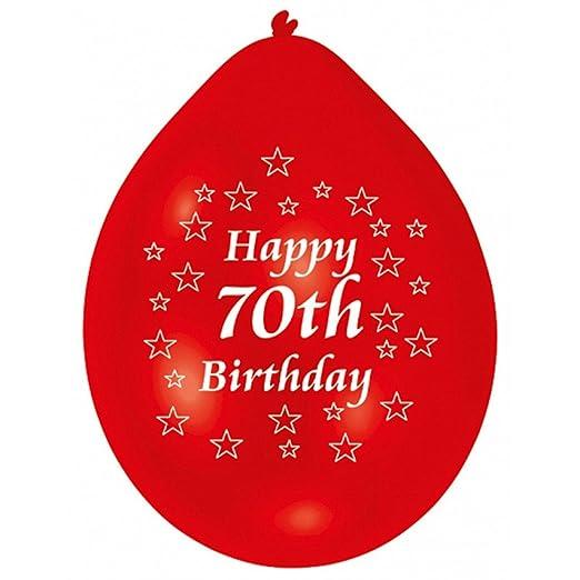 amscan 22.8 cm Happy 70th cumpleaños 10 Globos de látex