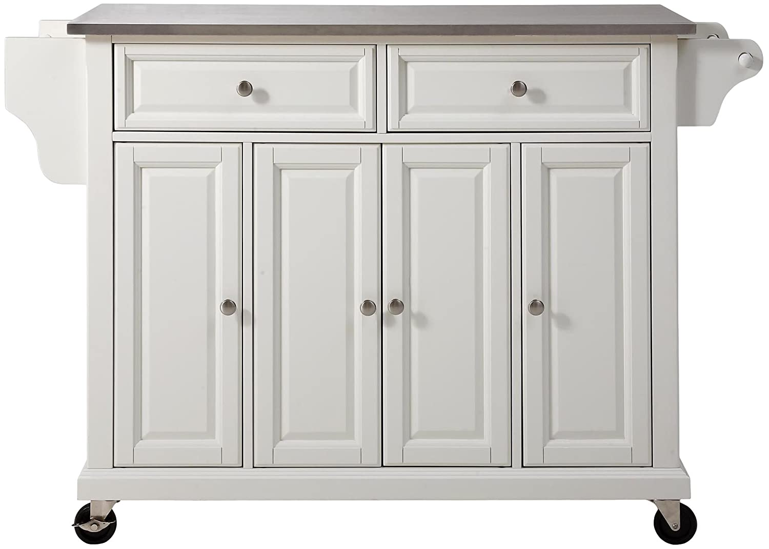Crosley Furniture KF30002EWH Rolling Kitchen Island with Stainless Steel To, White