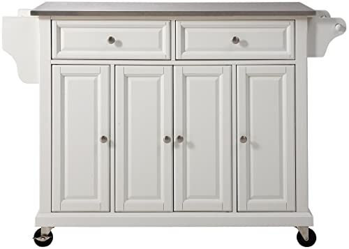 Crosley Furniture Rolling Kitchen Island with Stainless Steel Top, White
