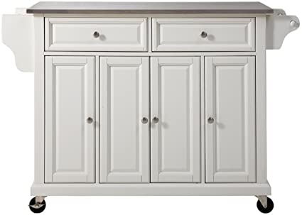 Crosley Furniture Rolling Kitchen Island With Stainless Steel Top   White