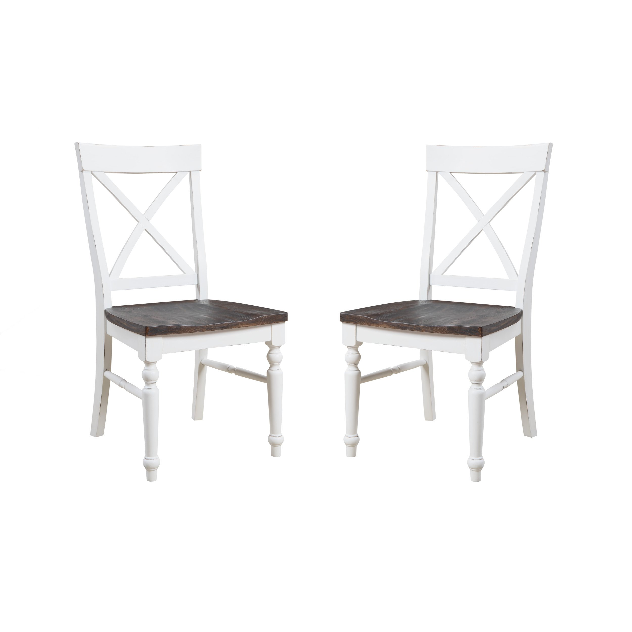 Emerald Home Mountain Retreat Antique White and Dark Mocha Dining Chair with All Wood Frame, X Back, And Contrasting Seat, Set of Two by Emerald Home Furnishings
