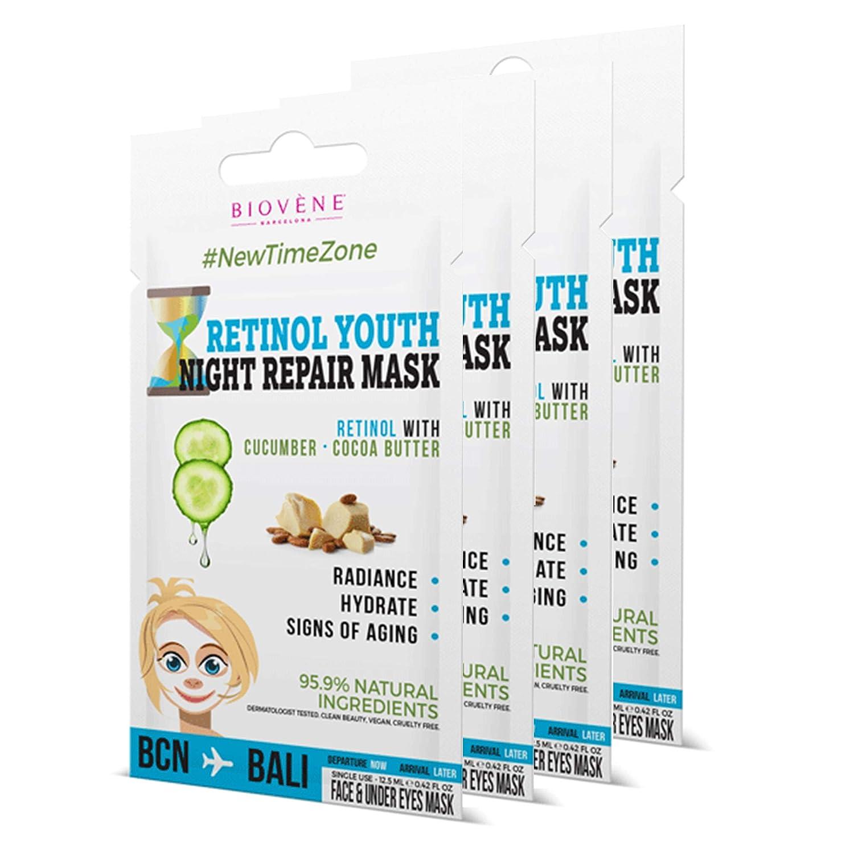 Biovène Retinol Youth, Night Repair Mask 0.42 oz (Pack of 4) Hydrating & Brightening Face Mask. 99.7% Natural Ingredients