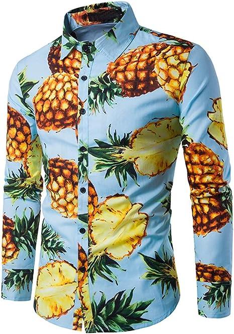 Hombres Hawaiano Manga Larga Camisa Piña Floral Impreso Casual Slim Fit Algodón Camisetas: Amazon.es: Deportes y aire libre