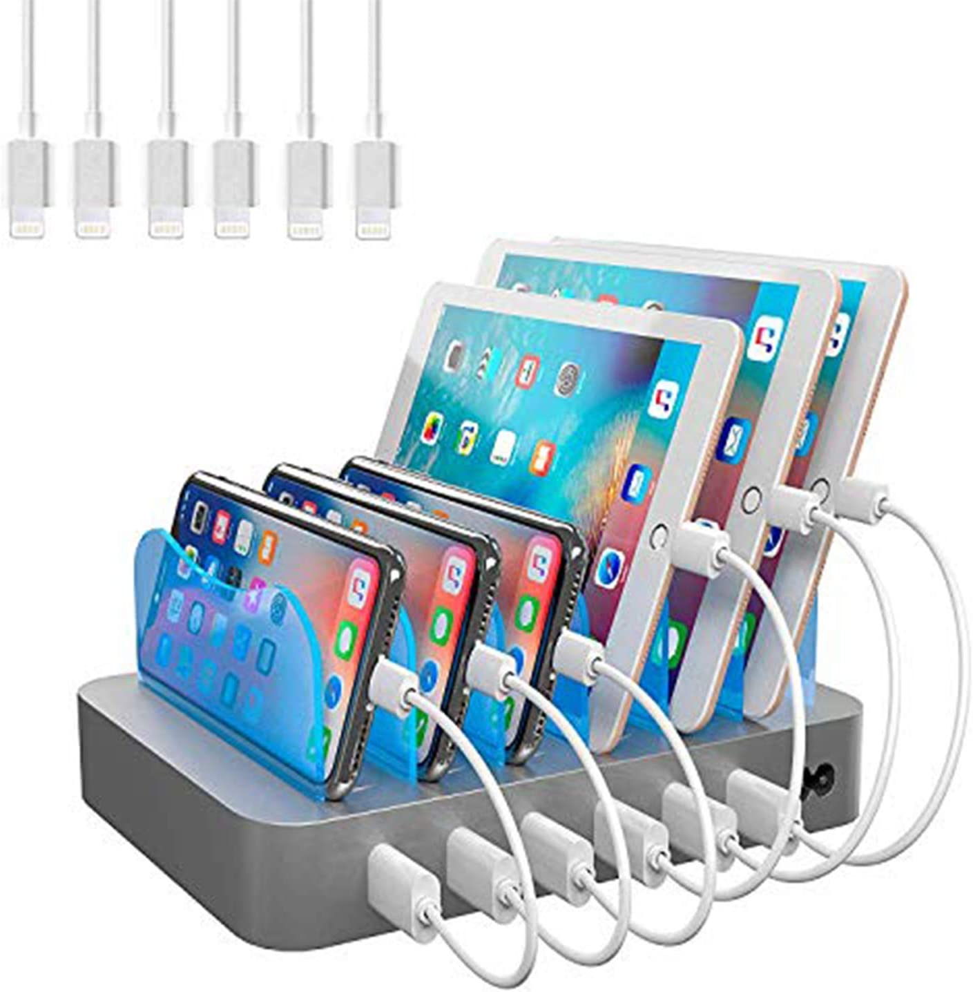 Hercules Tuff Charging Station for Multiple Devices (White) - 6 USB Fast Ports - 6 Short USB Lightning Cables Included for Cell Phones, Smart Phones, Tablets, and Other Electronics
