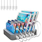 Hercules Tuff Charging Station for Multiple Devices, with 6 USB Fast Ports, and 6 Short USB Cables Included for Cell Phones,